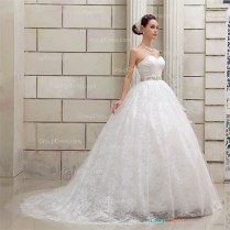 Classical Strapless Sweetheart Asymmetrical Pleated Floral Lace