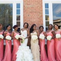 Coral And Champagne Bridesmaid Dresses