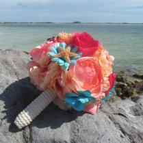 Coral, And, Teal, Flower, Bridal, Bouquet, Bridesmaid, Sugar