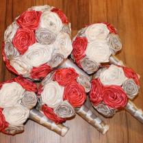 Coral, Silver, & White Wedding Bouquet Set, Deposit, Coral And
