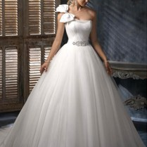 Cute One Shoulder Ball Gown Bow Tie Wedding Dress Wm
