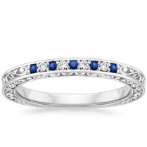 Delicate Antique Scroll Sapphire And Diamond Ring In 18k White Gold