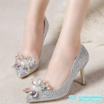 Disney Movie Cinderella Cosplay Lily Glass Slipper Silver Wedding