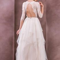 Divine Atelier Wedding Dress 2015 Bridal Three Quarter 3 4 Sleeves