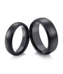 Domed & Brushed Black Ceramic Ring For Men And Women