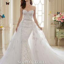 Dramatic Detachable Train Wedding Dress Designs For Brides