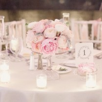 Dreamy Pale Pink And Ivory Peony Wedding Centerpiece