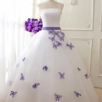 Elegant Strapless White Lace Bridal Gowns Floor Length Purple