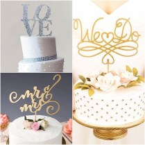 Elegant Wedding Cake Toppers With Script