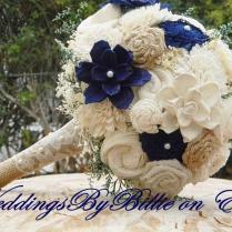 Fall Bouquets, Burlap Lace, Navy Blue Sola Bouquet, Blue Bouquet