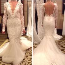Fashionable Vestido De Novia Wedding Dresses Sexy V Neck Backless