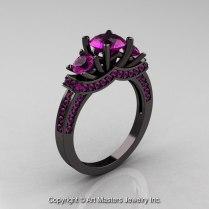 French 14k Black Gold Three Stone Amethyst Wedding Ring Engagement