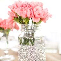 Gallery Glittered Mason Jars Centerpiece With Wedding Reception