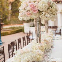 Gallery Outdoor White And Pink Roses Tall Wedding Centerpieces