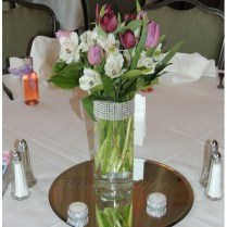 Glass Cylinder Vases, Bling Wedding Centerpieces, Silver Rhinesto