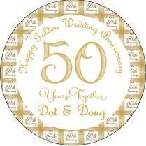 Golden Wedding Anniversary 50th Wedding Anniversary 7 5 Round