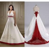 Halter Wedding Dress With Red Sash