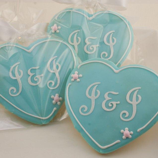 Heart Cookies Monogrammed Wedding 1 Dozen Decorated By Tscookies