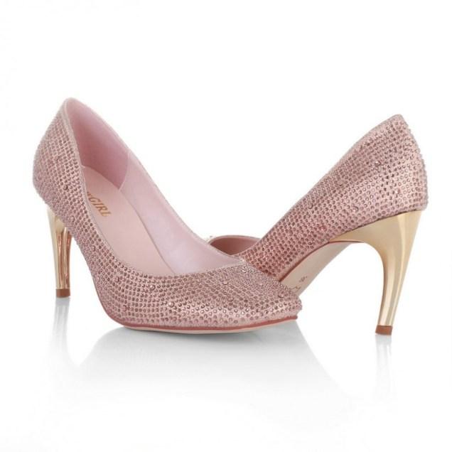 High Heel Close Toe Rhinestones Rose Gold Cheap Wedding Bridal