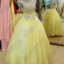 Hot Sale!beautiful Yellow Ball Gown Wedding Dresses High Collar