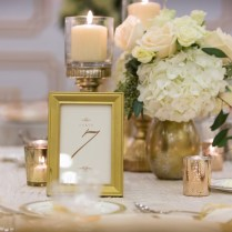 Ivory And Gold Wedding Reception Table Decor With White Flowers
