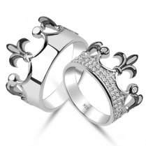 King & Queen Crown Ring Setgold Crown Ringpromise By Uniquenewline
