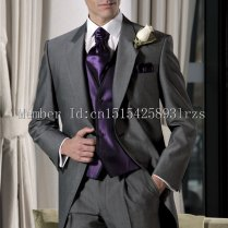 Latest Design Dark Grey Groom Tuxedos Lapel Best Man Suit Wedding