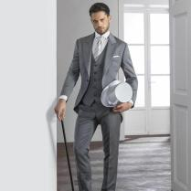 Light Grey Mens Suits 2015 Hot Peaked Lapel Tuxedos One Button