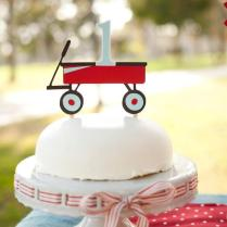 Little Red Wagon Cake Topper