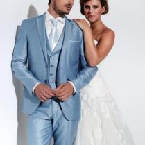 Mens Wedding Tuxedos 2015 Notched Lapel Light Blue Wedding Suits
