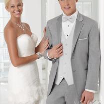 New Arrival Light Grey Wedding Suits For Men Notched Lapel Frim