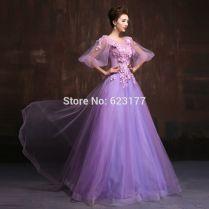 New Formal Dress 2016 Cute Purple Chiffon Ball Gown Half Sleeve