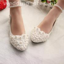 Pearls And Lace 2016 Wedding Shoes Flats Bridal Shoes Sweet