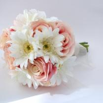 Pink Rose And White Gerbera Daisy Bouquet