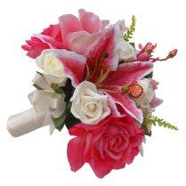 Pink Stargazer Lily & Rose Brides Wedding Bouquet