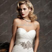 Pleated Organza Fan Skirt Mermaid Wedding Dress With Chapel Length