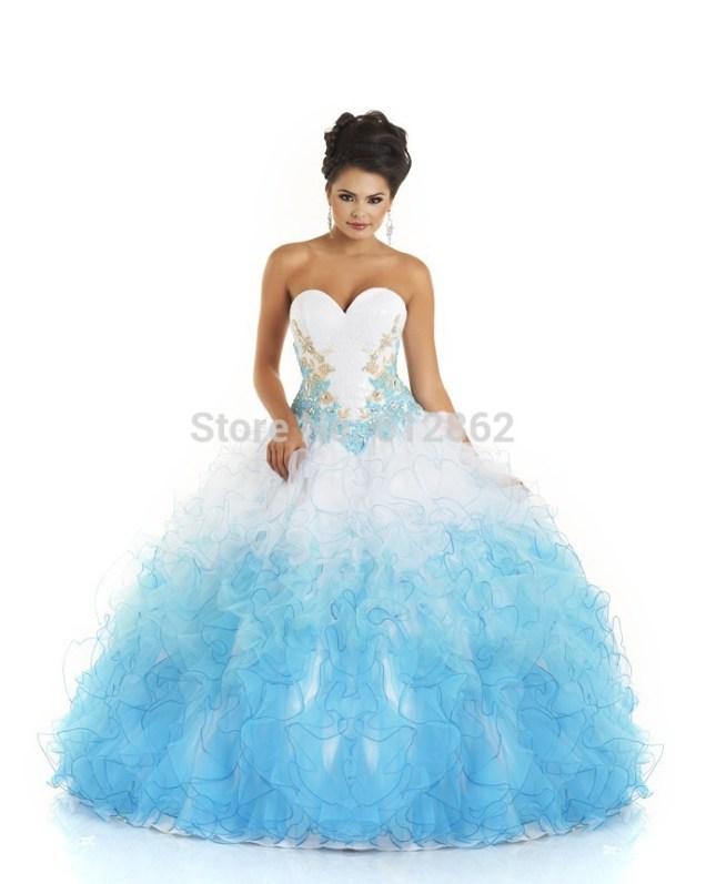 Popular Blue And White Wedding Dresses