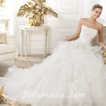 Princess A Line Strapless Scalloped Neckline Layered Tulle Beaded