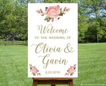 Printable Large Wedding Welcome Sign, Personalized Wedding Sign