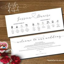 Printable Wedding Weekend Timeline (t0109) Wedding Itineraries