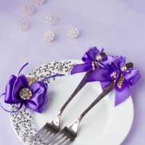 Purple And Brown Wedding Set Of Wedding Fork And Plate Lace Style