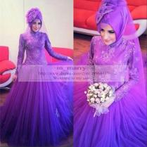 Purple Arabic Islamic Muslim Wedding Dresses 2016 Plus Size High