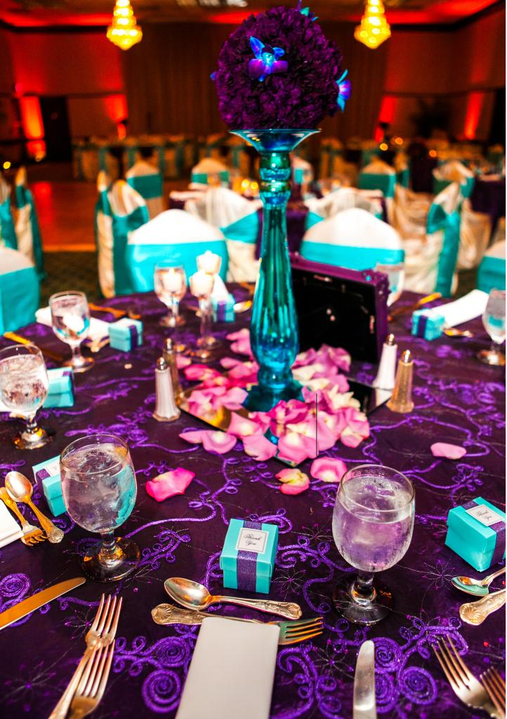 Purple And Turquoise Wedding Reception