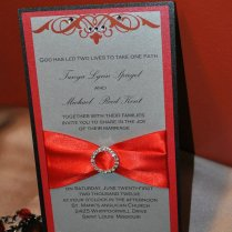 Red Silver And Black Wedding Invitation Flat By Vividesignsstore