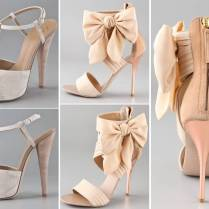 Romantic Blush Pink Bridal Heels With Flower Embellishments