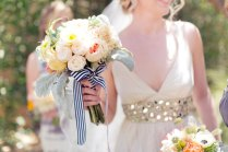 Romantic Bridal Bouquet Tied With Striped Ribbon