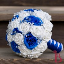 Royal Blue And White Bouquet With Silver And Clear Crystals