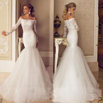 Sexy Off Shoulder Mermaid Wedding Dresses 2014 See Through Abdomen