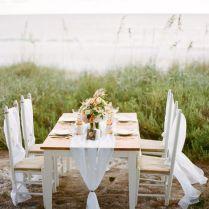 Simple Wedding Reception Table Setting On The Beach