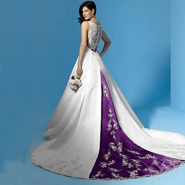 Stunning Purple And White Wedding Dresses Satin Bridal Gowns A